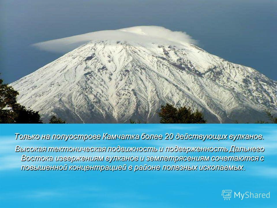 Только на полуострове Камчатка более 20 действующих вулканов. Только на полуострове Камчатка более 20 действующих вулканов. Высокая тектоническая подвижность и подверженность Дальнего Востока извержениям вулканов и землетрясениям сочетаются с повышен