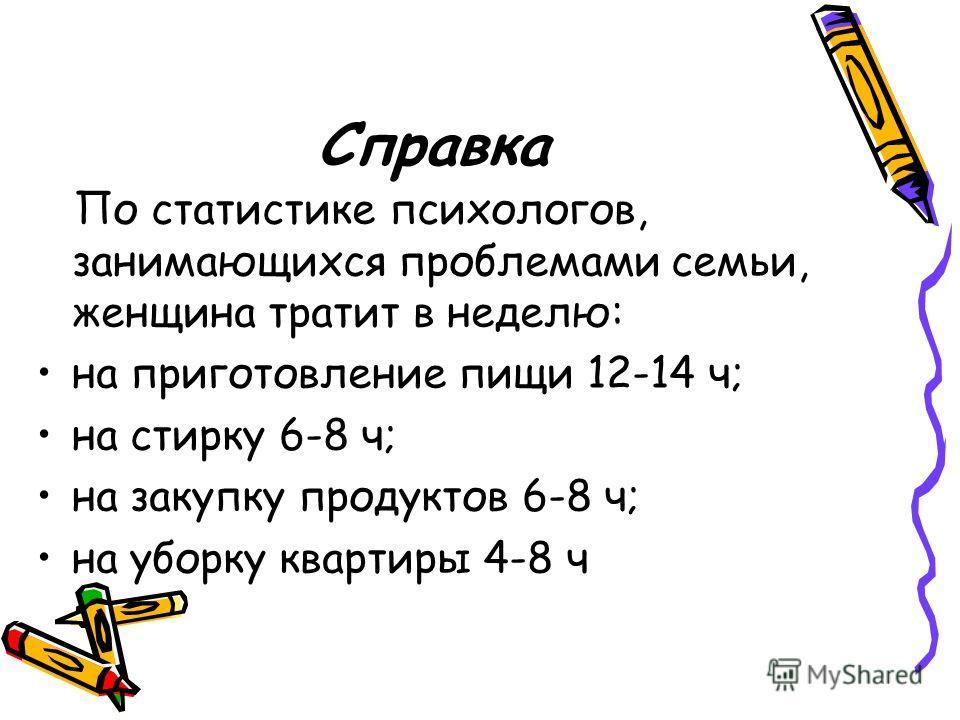 Справка По статистике психологов, занимающихся проблемами семьи, женщина тратит в неделю: на приготовление пищи 12-14 ч; на стирку 6-8 ч; на закупку продуктов 6-8 ч; на уборку квартиры 4-8 ч