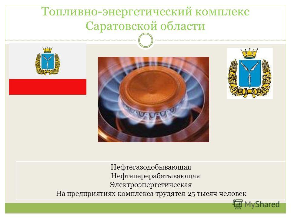 Топливно-энергетический комплекс Саратовской области Нефтегазодобывающая Нефтеперерабатывающая Электроэнергетическая На предприятиях комплекса трудятся 25 тысяч человек