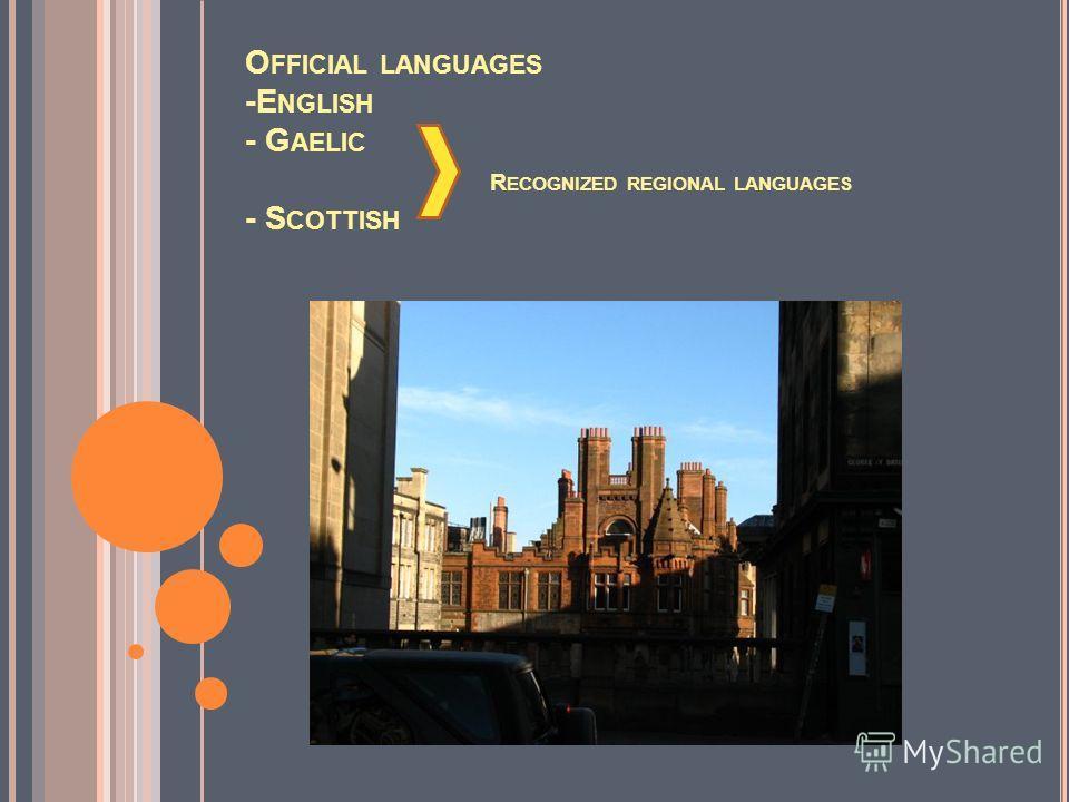 O FFICIAL LANGUAGES -E NGLISH - G AELIC R ECOGNIZED REGIONAL LANGUAGES - S COTTISH