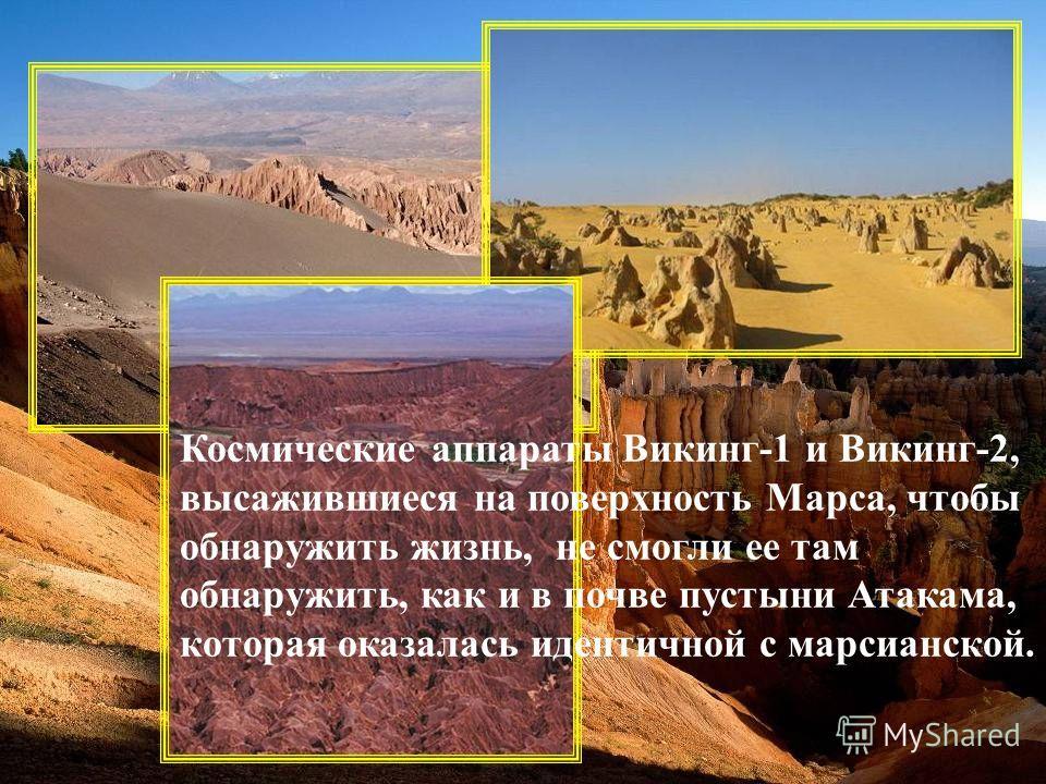 Космические аппараты Викинг-1 и Викинг-2, высажившиеся на поверхность Марса, чтобы обнаружить жизнь, не смогли ее там обнаружить, как и в почве пустыни Атакама, которая оказалась идентичной с марсианской.