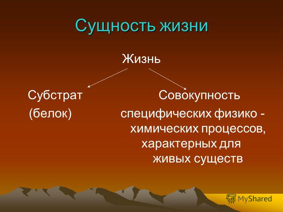 Сущность жизни Жизнь СубстратСовокупность (белок) специфических физико - химических процессов, характерных для живых существ
