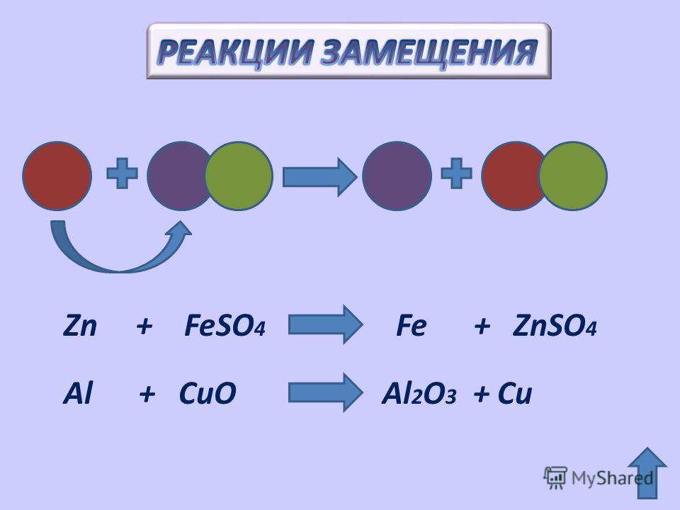 Zn + FeSO 4 Fe + ZnSO 4 Al + CuO Al 2 O 3 + Cu