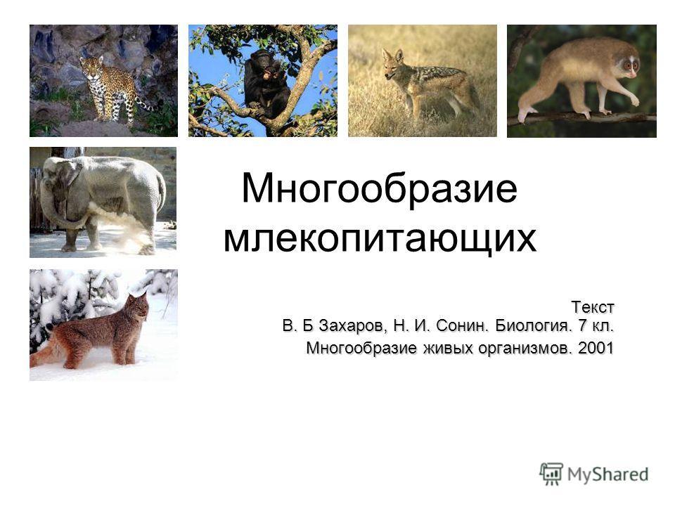 Многообразие млекопитающих Текст В. Б Захаров, Н. И. Сонин. Биология. 7 кл. Многообразие живых организмов. 2001