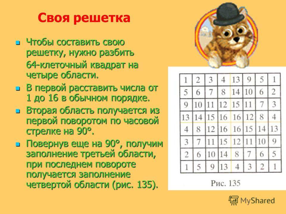 Чтобы составить свою решетку, нужно разбить Чтобы составить свою решетку, нужно разбить 64-клеточный квадрат на четыре области. В первой расставить числа от 1 до 16 в обычном порядке. В первой расставить числа от 1 до 16 в обычном порядке. Вторая обл