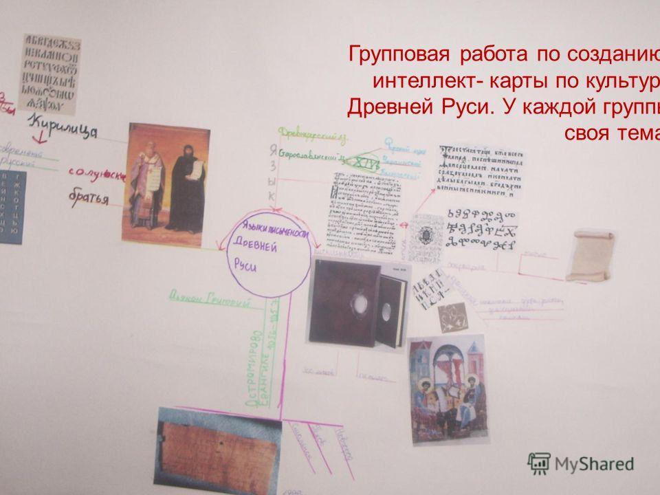 Групповая работа по созданию интеллект- карты по культуре Древней Руси. У каждой группы своя тема.