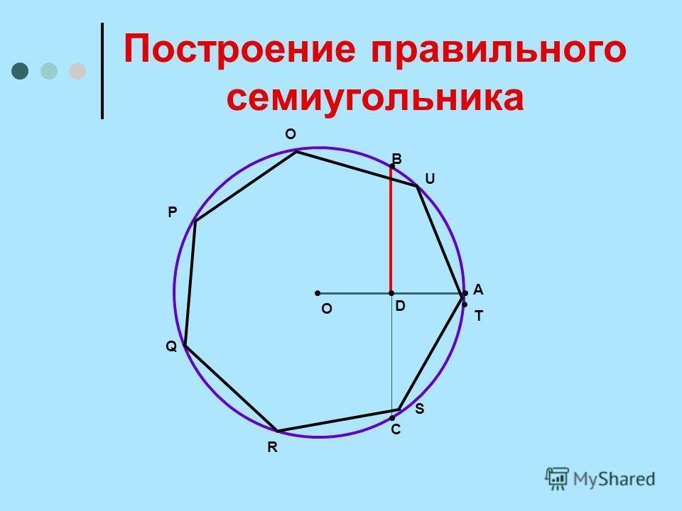 Построение правильного семиугольника О D A В C O P Q R S U T