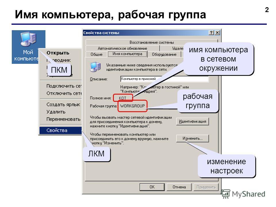 2 Имя компьютера, рабочая группа ПКМ ЛКМ имя компьютера в сетевом окружении рабочая группа изменение настроек