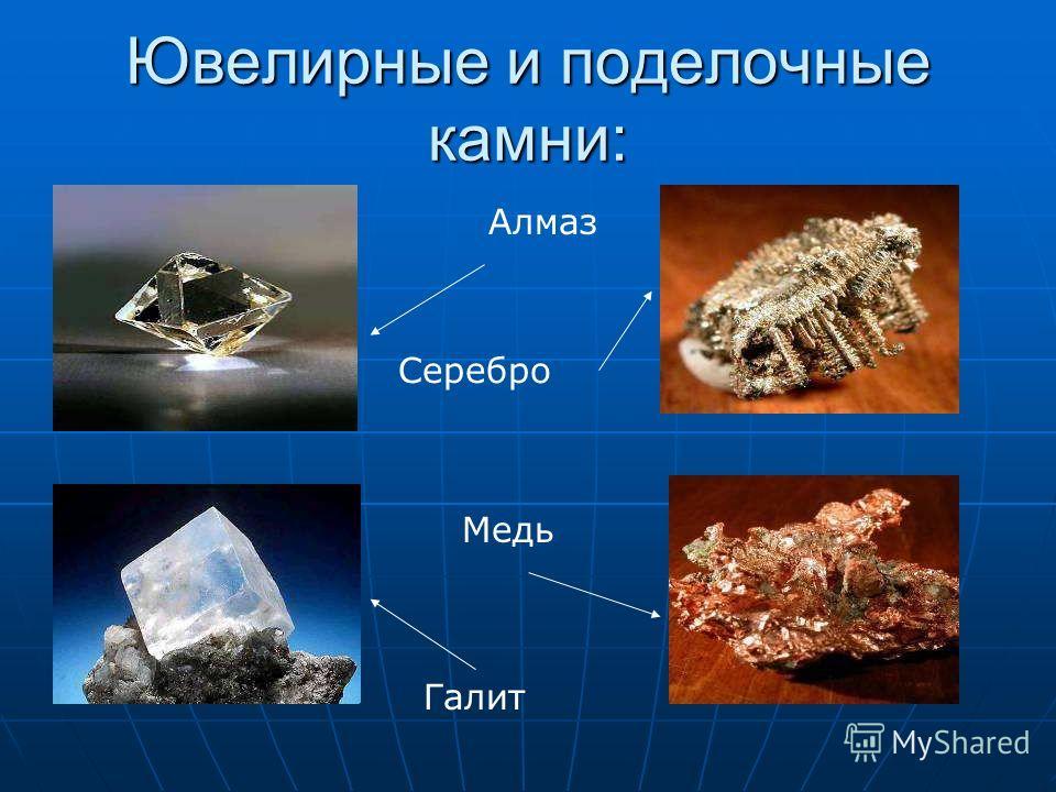 Ювелирные и поделочные камни: Алмаз Серебро Медь Галит