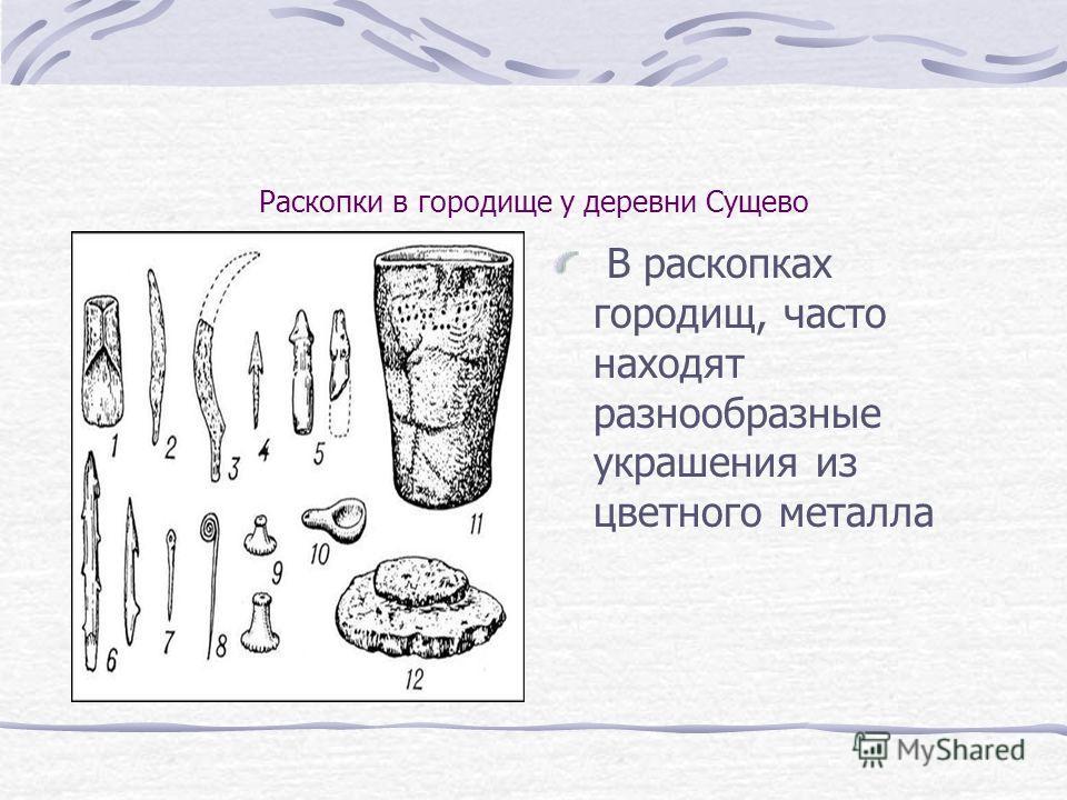 Раскопки в городище у деревни Сущево В раскопках городищ, часто находят разнообразные украшения из цветного металла