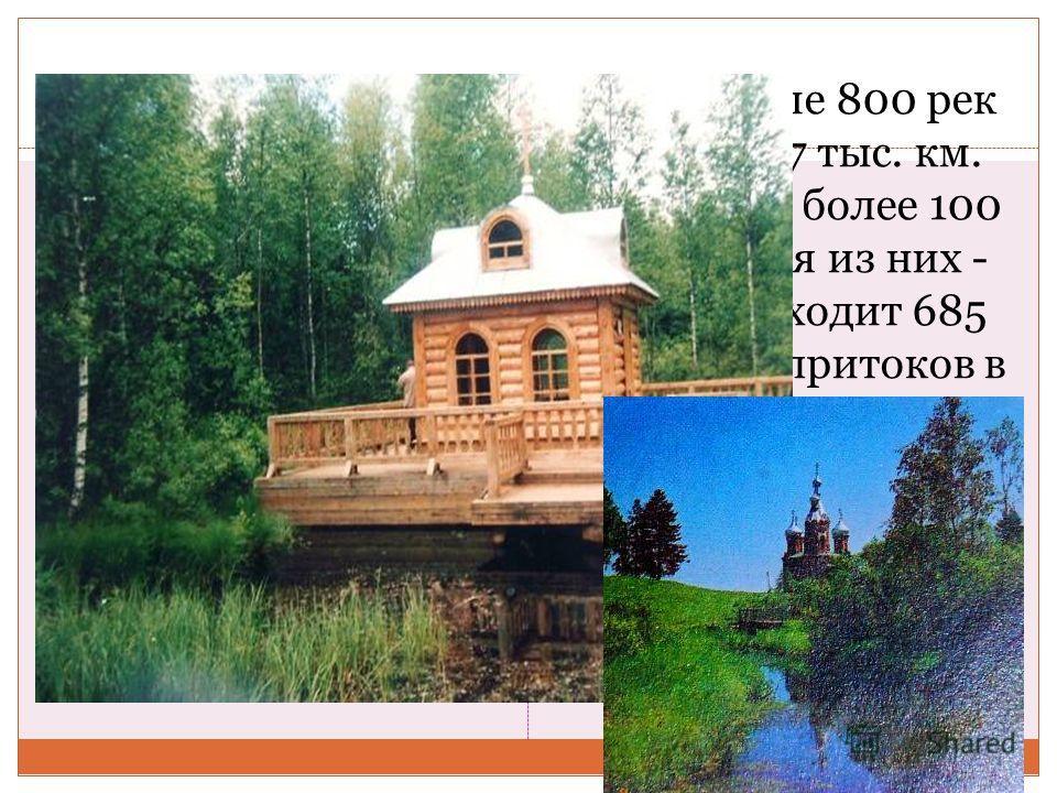 В Тверской области протекает свыше 800 рек и ручьев общей протяженностью 17 тыс. км. Однако крупных и средних, длиной более 100 км, всего 21 река. Наиболее крупная из них - Волга. По территории области проходит 685 км ее водотока, она принимает 150 п