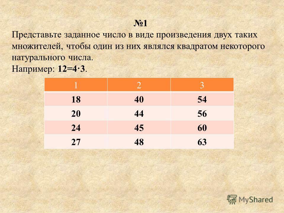 1 Представьте заданное число в виде произведения двух таких множителей, чтобы один из них являлся квадратом некоторого натурального числа. Например : 12=4 3. 123 184054 204456 244560 274863