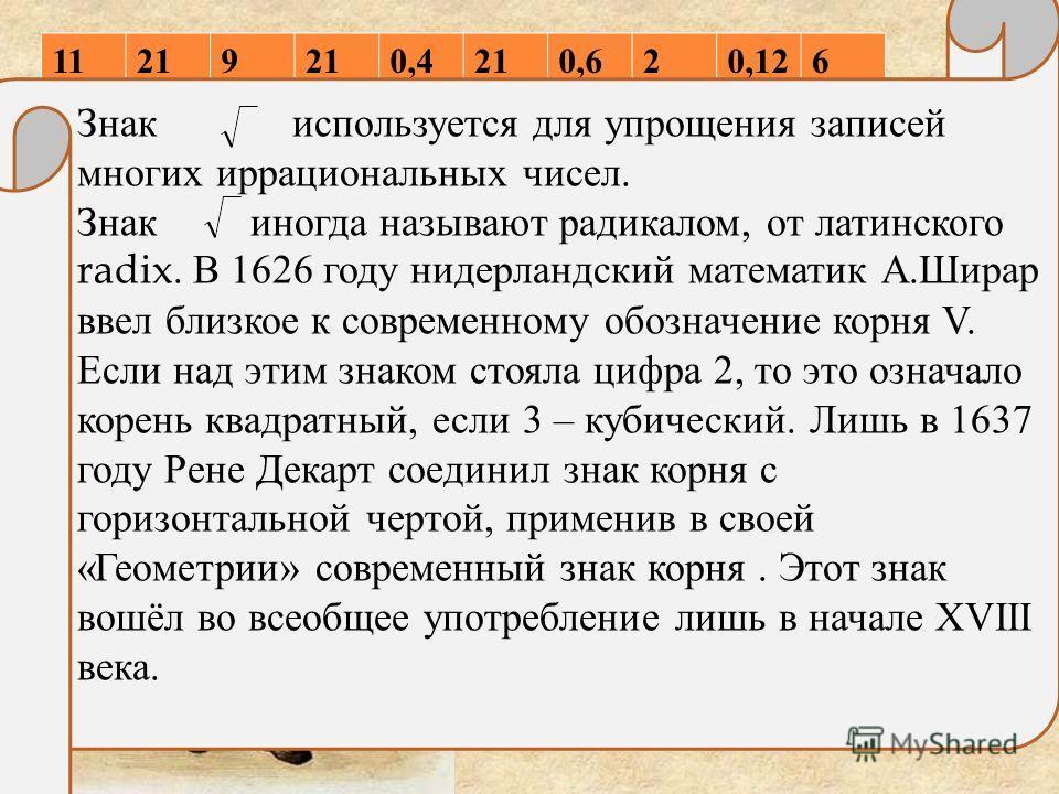 11219 0,4210,620,126 РенеДекарт 37-390 радикал Знак используется для упрощения записей многих иррациональных чисел. Знак иногда называют радикалом, от латинского radix. В 1626 году нидерландский математик А. Ширар ввел близкое к современному обозначе
