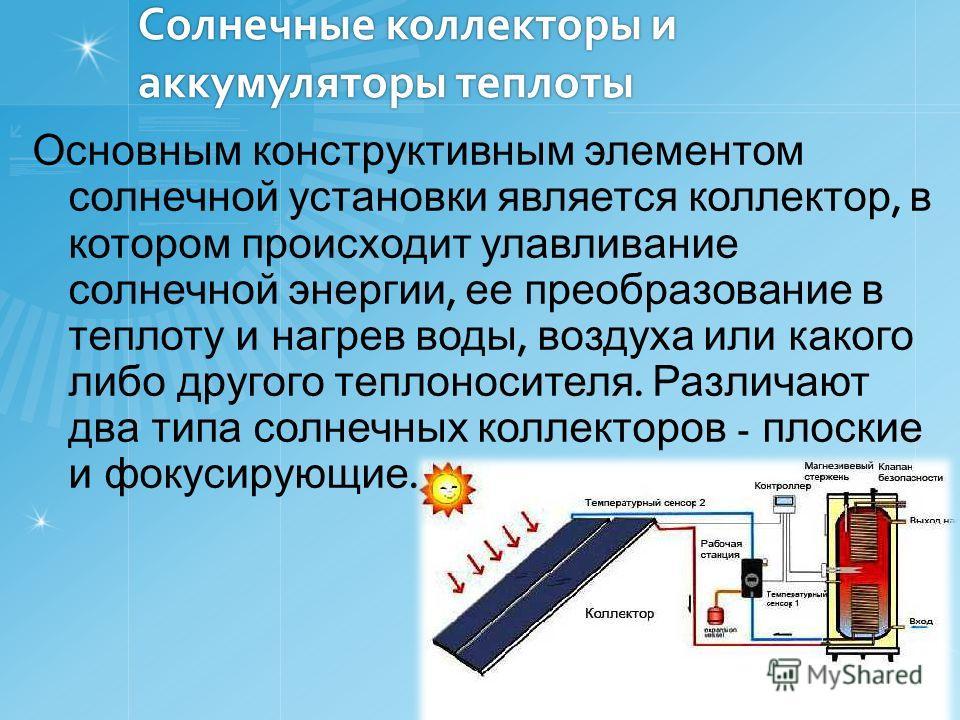 Солнечные коллекторы и аккумуляторы теплоты Основным конструктивным элементом солнечной установки является коллектор, в котором происходит улавливание солнечной энергии, ее преобразование в теплоту и нагрев воды, воздуха или какого либо другого тепло