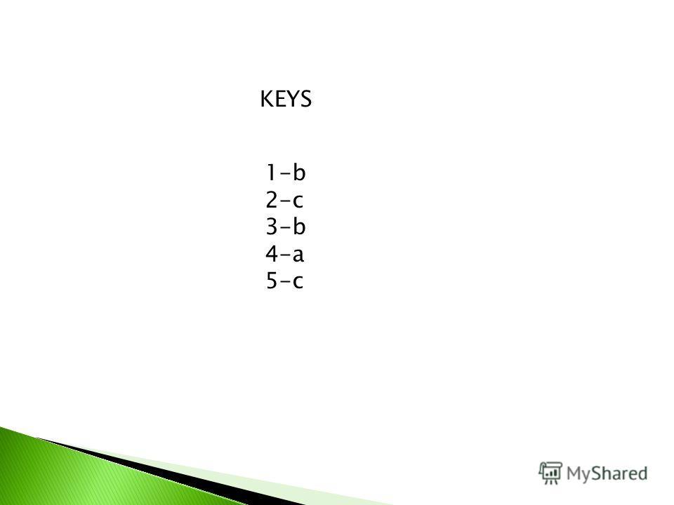 KEYS 1-b 2-c 3-b 4-a 5-c