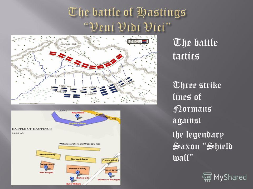 The battle tactics Three strike lines of Normans against the legendary Saxon Shield wall