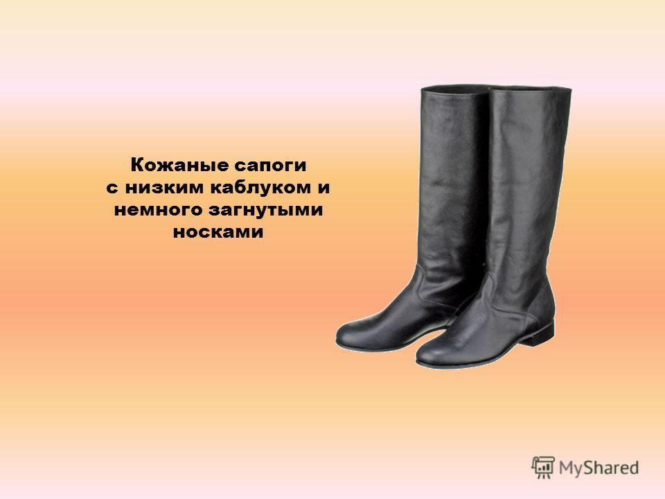 Кожаные сапоги с низким каблуком и немного загнутыми носками