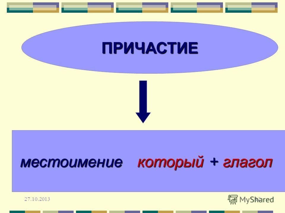 27.10.201312 ПРИЧАСТИЕ местоимение который + глагол
