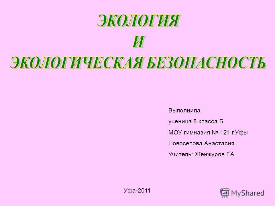 Выполнила ученица 8 класса Б МОУ гимназия 121 г.Уфы Новоселова Анастасия Учитель: Женжуров Г.А. Уфа-2011