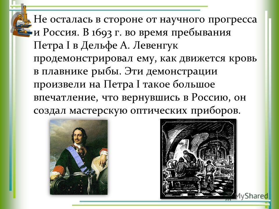 Не осталась в стороне от научного прогресса и Россия. В 1693 г. во время пребывания Петра I в Дельфе А. Левенгук продемонстрировал ему, как движется кровь в плавнике рыбы. Эти демонстрации произвели на Петра I такое большое впечатление, что вернувшис