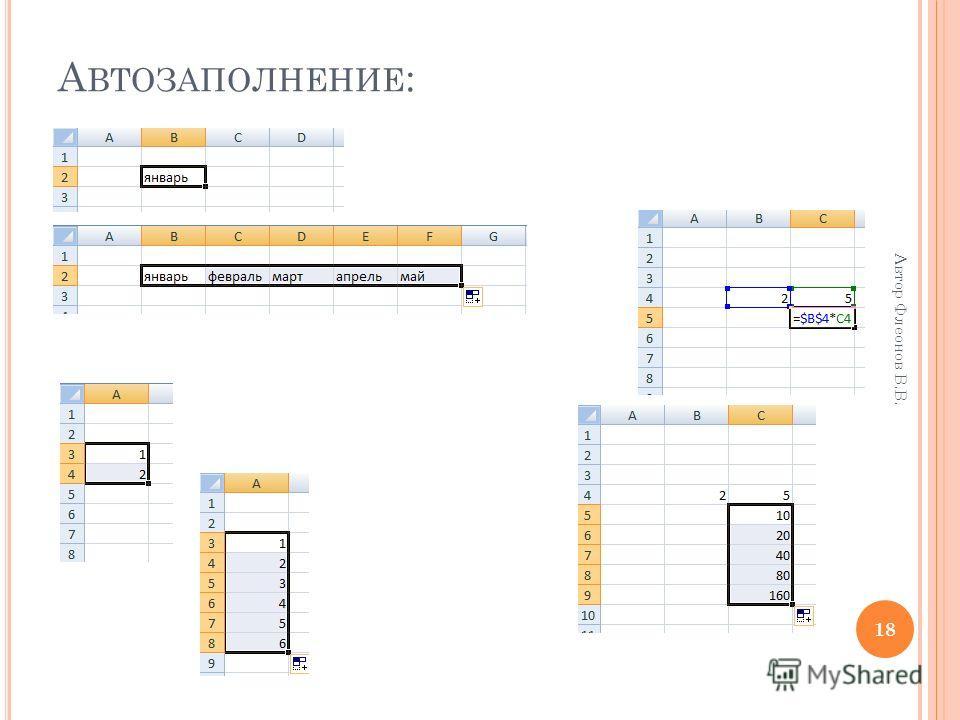 18 Автор Флеонов В.В. А ВТОЗАПОЛНЕНИЕ :