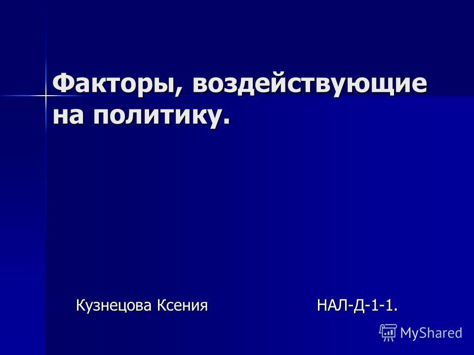 Факторы, воздействующие на политику. Кузнецова Ксения НАЛ-Д-1-1.
