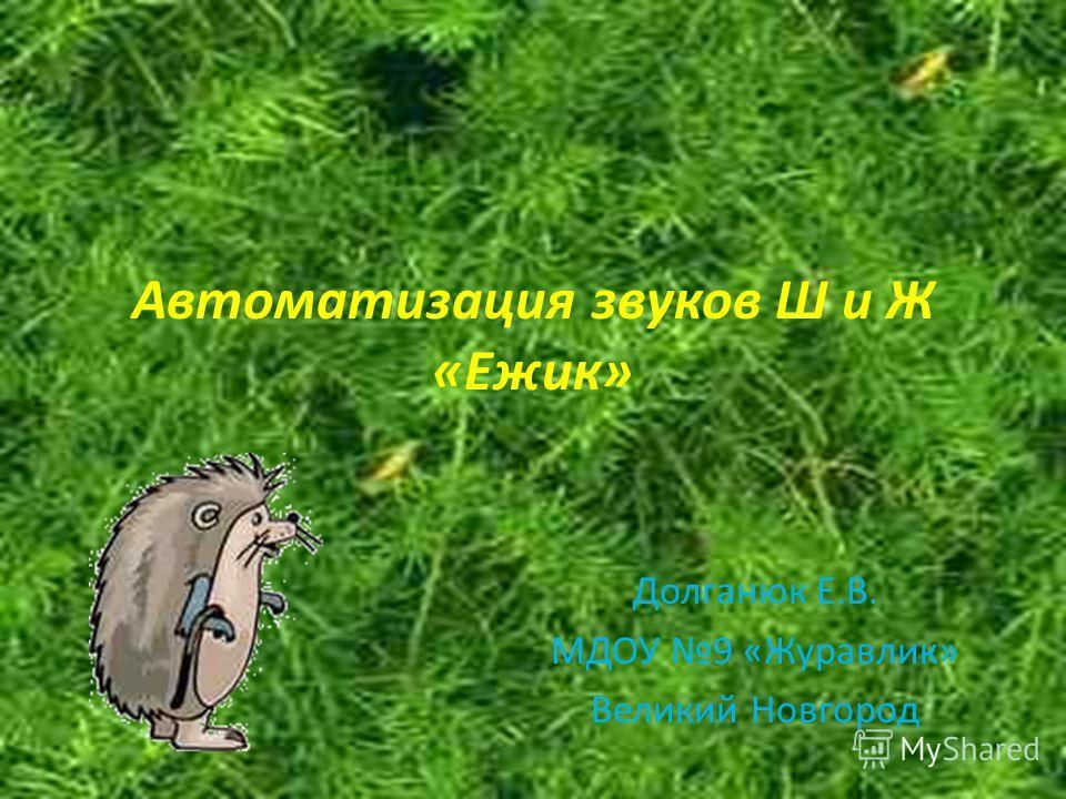 Автоматизация звуков Ш и Ж «Ежик» Долганюк Е.В. МДОУ 9 «Журавлик» Великий Новгород