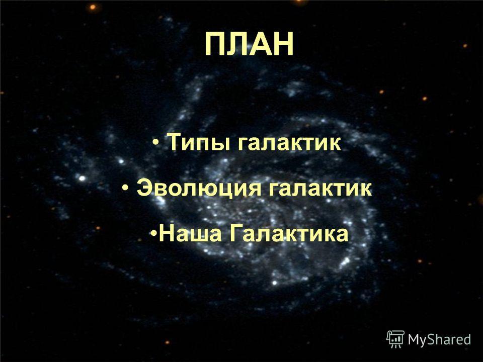 ПЛАН Типы галактик Эволюция галактик Наша Галактика