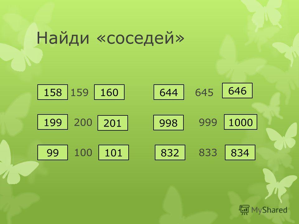 Найди «соседей» 159 645 200 999 100 833 646 644 1000 998 83483210199 201 199 160158