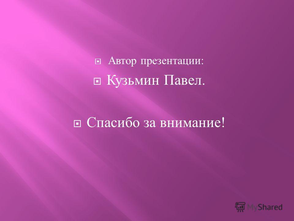 Автор презентации : Кузьмин Павел. Спасибо за внимание !