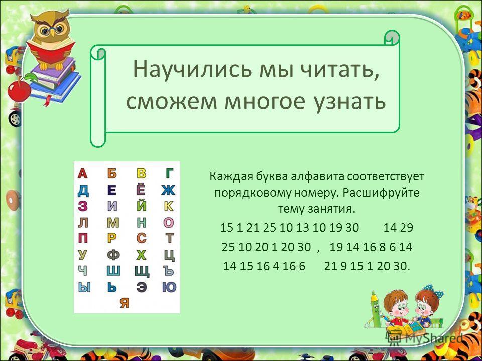 Научились мы читать, сможем многое узнать Каждая буква алфавита соответствует порядковому номеру. Расшифруйте тему занятия. 15 1 21 25 10 13 10 19 30 14 29 25 10 20 1 20 30, 19 14 16 8 6 14 14 15 16 4 16 6 21 9 15 1 20 30.