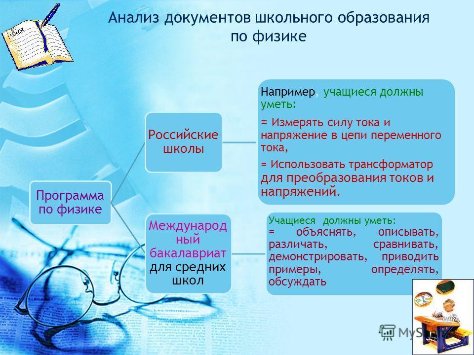 Анализ документов школьного образования по физике Программа по физике Российские школы Например, учащиеся должны уметь: = Измерять силу тока и напряжение в цепи переменного тока, = Использовать трансформатор для преобразования токов и напряжений. Меж