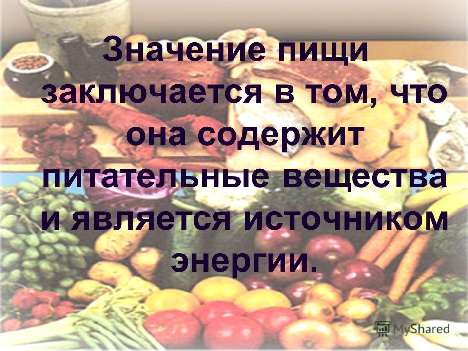 Значение пищи заключается в том, что она содержит питательные вещества и является источником энергии.