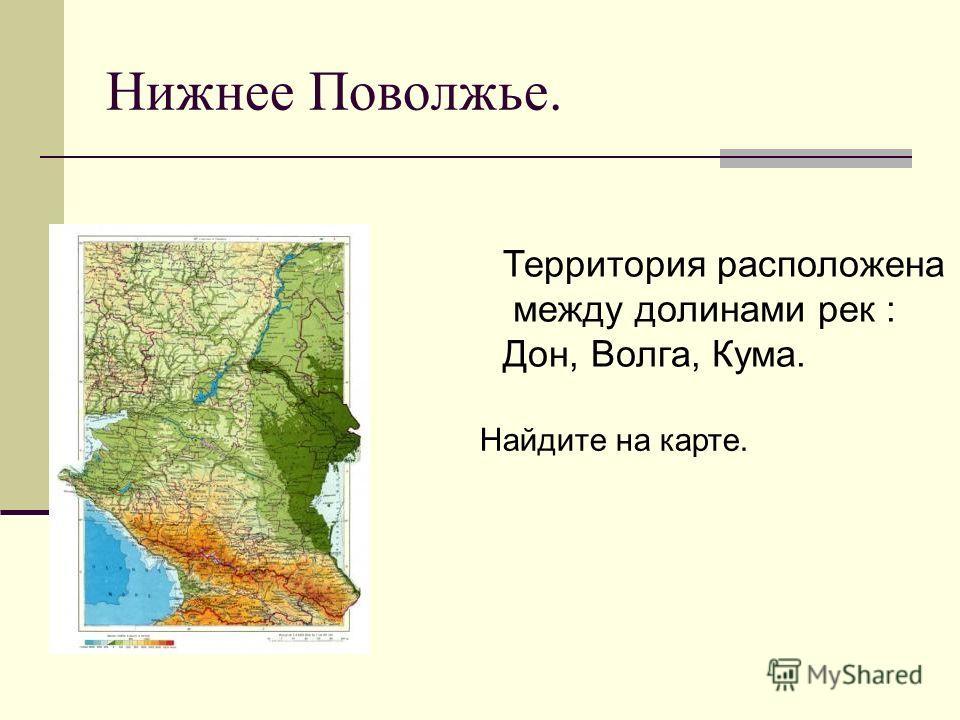 Нижнее Поволжье. Территория расположена между долинами рек : Дон, Волга, Кума. Найдите на карте.