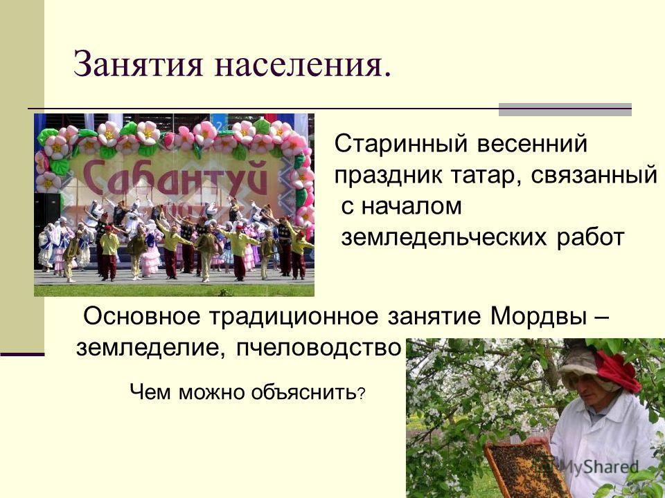 Занятия населения. Старинный весенний праздник татар, связанный с началом земледельческих работ Основное традиционное занятие Мордвы – земледелие, пчеловодство Чем можно объяснить ?