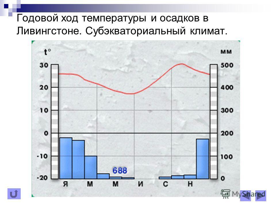 Годовой ход температуры и осадков в Ливингстоне. Субэкваториальный климат.