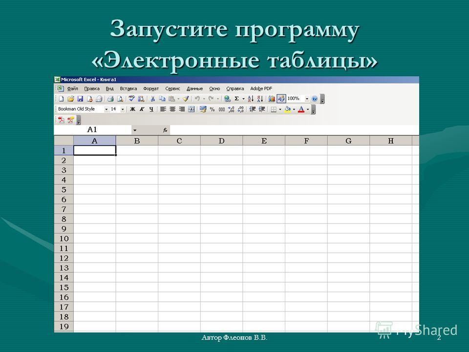 Автор Флеонов В.В.2 Запустите программу «Электронные таблицы»