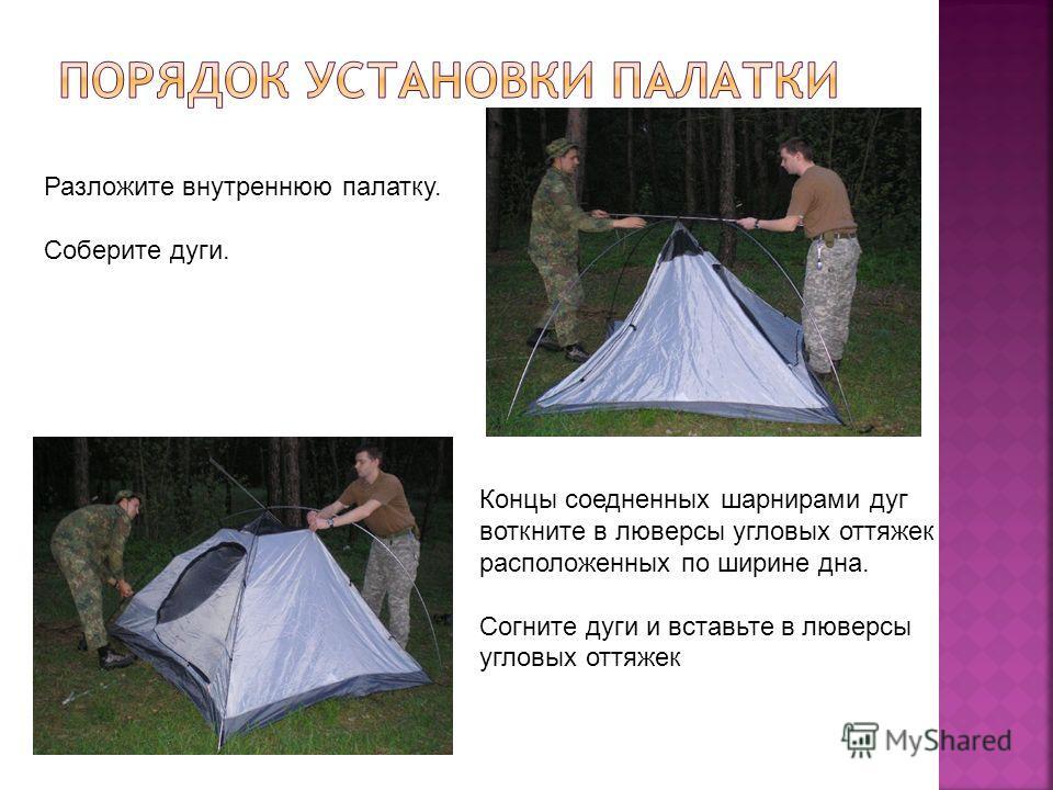 Разложите внутреннюю палатку. Соберите дуги. Концы соедненных шарнирами дуг воткните в люверсы угловых оттяжек расположенных по ширине дна. Согните дуги и вставьте в люверсы угловых оттяжек