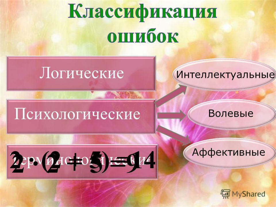 Интеллектуальные Аффективные Волевые Логические Психологические Терминологические 2 · 2 + 5 =9 2 · (2 + 5) =14