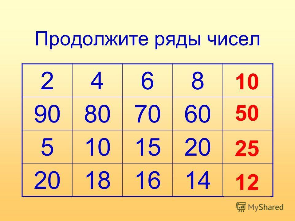 Продолжите ряды чисел 2468? 90807060? 5101520? 181614? 10 50 25 12
