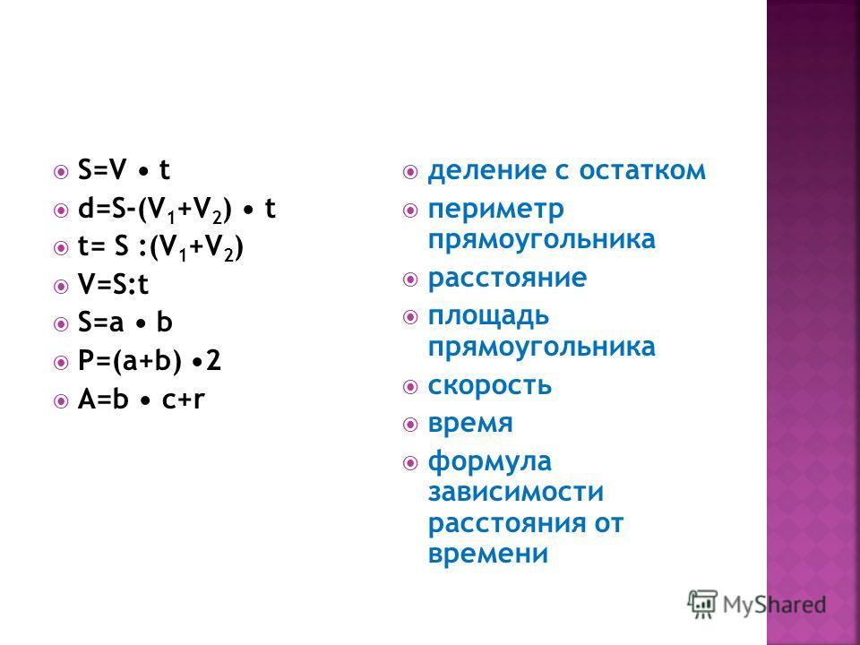 S=V t d=S-(V 1 +V 2 ) t t= S :(V 1 +V 2 ) V=S:t S=a b P=(a+b) 2 A=b c+r деление с остатком периметр прямоугольника расстояние площадь прямоугольника скорость время формула зависимости расстояния от времени