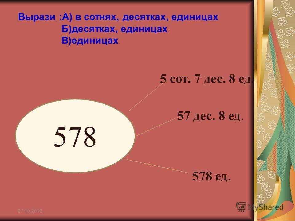 27.10.20137 578 5 сот. 7 дес. 8 ед. 57 дес. 8 ед. 578 ед. Вырази :А) в сотнях, десятках, единицах Б)десятках, единицах В)единицах