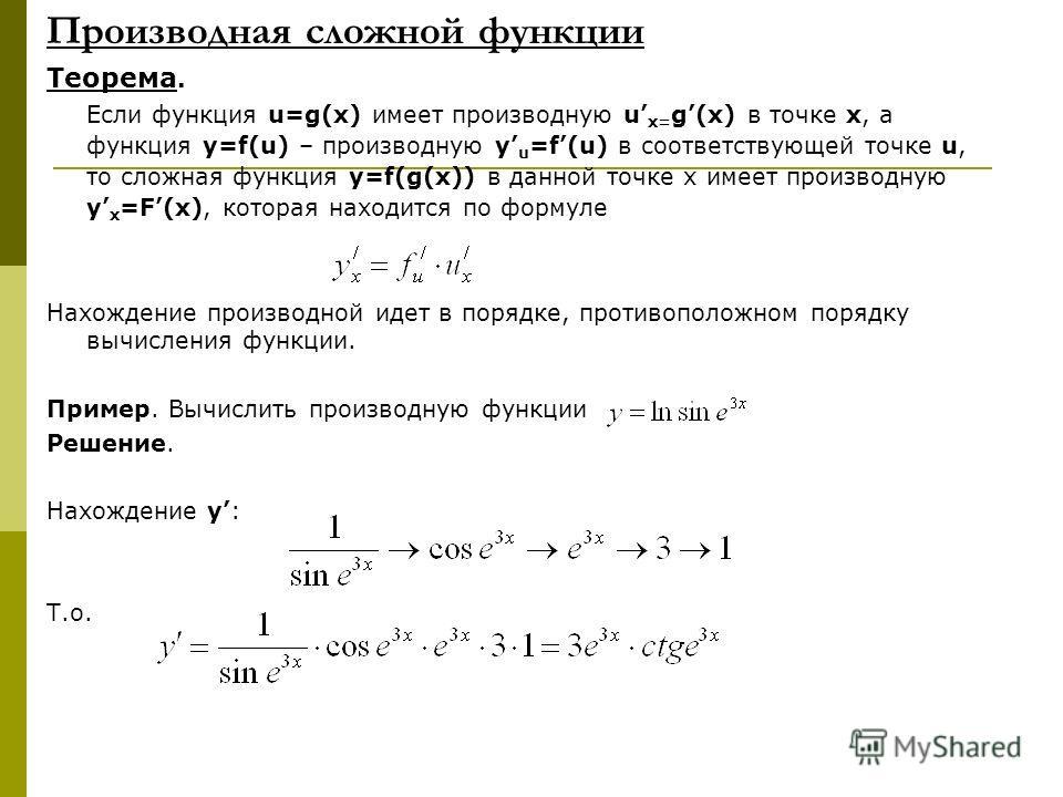 Производная сложной функции Теорема. Если функция u=g(x) имеет производную u x= g(x) в точке x, а функция y=f(u) – производную y u =f(u) в соответствующей точке u, то сложная функция y=f(g(x)) в данной точке х имеет производную y x =F(x), которая нах