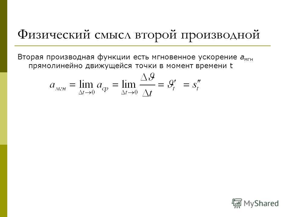 Физический смысл второй производной Вторая производная функции есть мгновенное ускорение а мгн прямолинейно движущейся точки в момент времени t