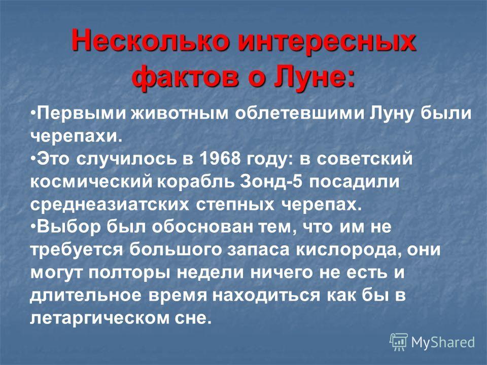 Несколько интересных фактов о Луне: Первыми животным облетевшими Луну были черепахи. Это случилось в 1968 году: в советский космический корабль Зонд-5 посадили среднеазиатских степных черепах. Выбор был обоснован тем, что им не требуется большого зап