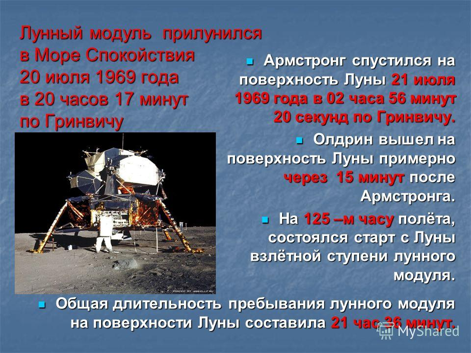 Лунный модуль прилунился в Море Спокойствия 20 июля 1969 года в 20 часов 17 минут по Гринвичу Армстронг спустился на поверхность Луны 21 июля 1969 года в 02 часа 56 минут 20 секунд по Гринвичу. Армстронг спустился на поверхность Луны 21 июля 1969 год