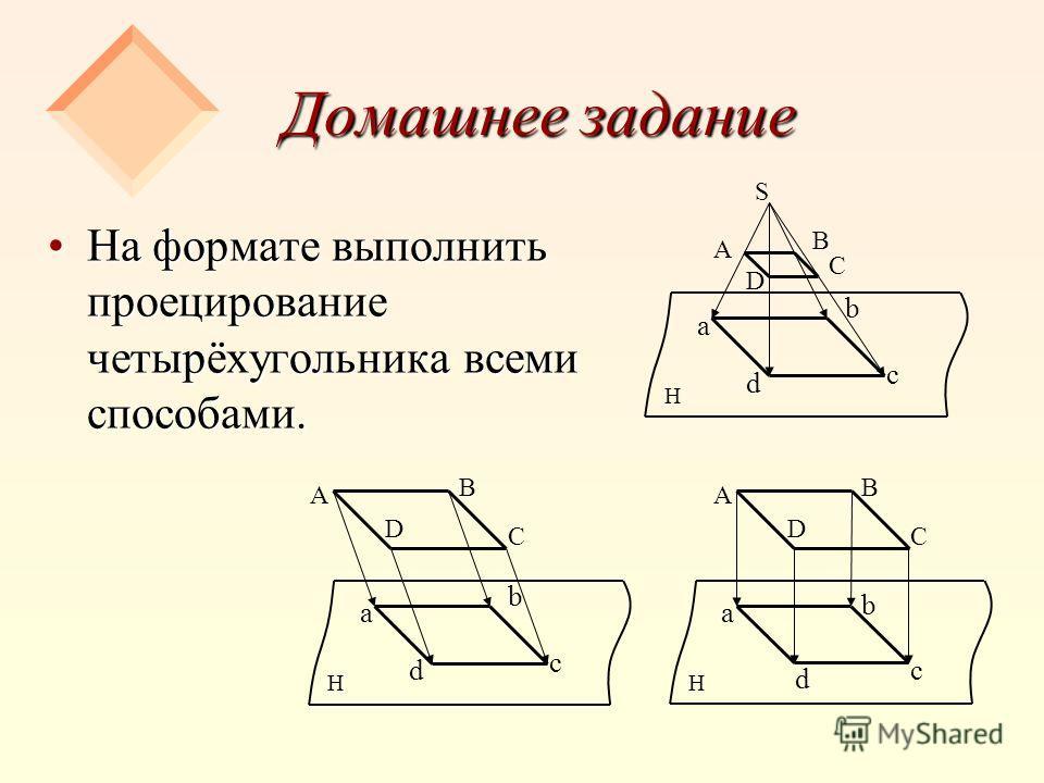 Домашнее задание На формате выполнить проецирование четырёхугольника всеми способами.На формате выполнить проецирование четырёхугольника всеми способами. S а d b c A B C D H а d b c A B C D H а d b c A B C D H