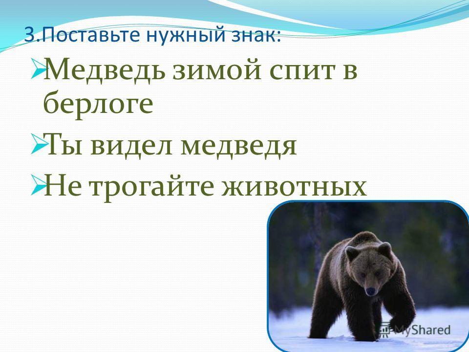 3.Поставьте нужный знак: Медведь зимой спит в берлоге Ты видел медведя Не трогайте животных