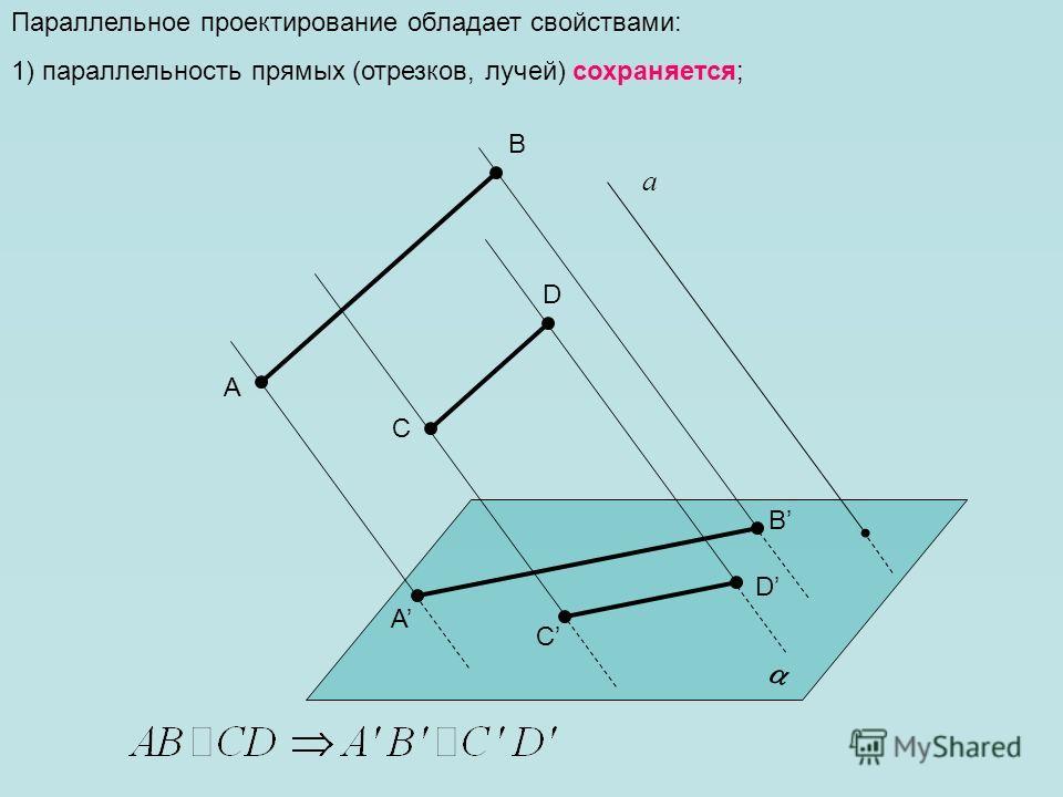Параллельное проектирование обладает свойствами: 1) параллельность прямых (отрезков, лучей) сохраняется; а A D C B A D C B