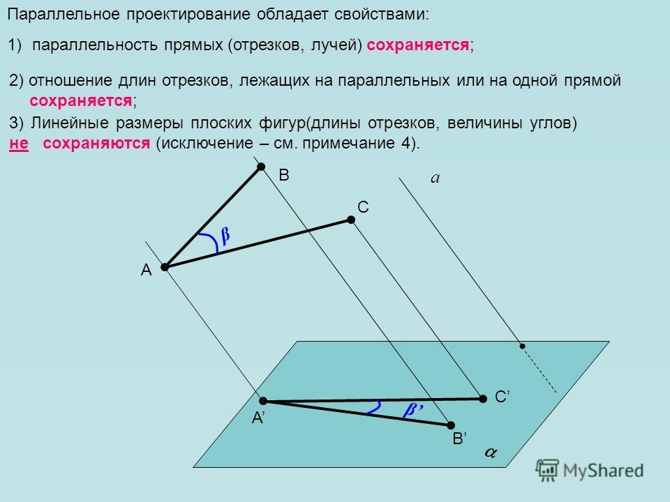 Параллельное проектирование обладает свойствами: 1)параллельность прямых (отрезков, лучей) сохраняется; а A B A B 3) Линейные размеры плоских фигур(длины отрезков, величины углов) не сохраняются (исключение – см. примечание 4). 2) отношение длин отре